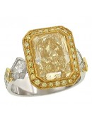 Fancy Yellow Radiant Cut and Pave Diamond Engagement Ring