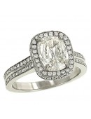 Cushion Cut and 2 Row Pave Diamond Engagement Ring
